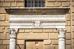Closeup historic fountain in Pienza Stock Photo