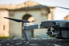 DJI Mavic Pro drone: Fano, Marche, Italia 03/05/2018. Closeup,on historical background. One of the most portable drones in the market,with 4k ultra hd royalty free stock images