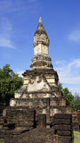 Closeup Historical Pagoda Wat chedi seven rows temple Royalty Free Stock Photo