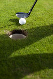 Closeup of hole on golf Royalty Free Stock Photo