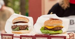Closeup of home made burgers Royalty Free Stock Photo