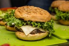 Closeup of home made burgers Stock Images