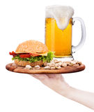 Closeup of homemade burger and beer Royalty Free Stock Photos