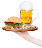 Closeup of homemade burger and beer Royalty Free Stock Photography