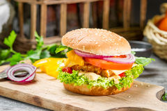 Closeup of homemade burger made ​​from fresh vegetables Stock Photography