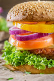 Closeup of homemade burger made from fresh vegetables Royalty Free Stock Images