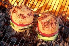 Closeup of Homemade Burgers On Hot BBQ Grill Royalty Free Stock Photography