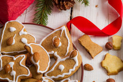 Closeup homemade Christmas cookies Royalty Free Stock Photography
