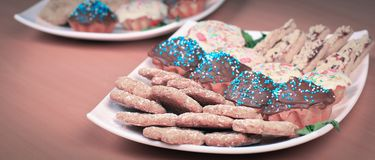 Closeup.homemade cookies at the Christmas table. royalty free stock photography