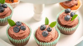Closeup of homemade cupcake made of chocolate cream and berries. On blue table royalty free stock photos