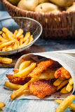 Closeup of homemade Fish & Chips Stock Image