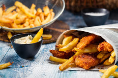 Closeup of homemade Fish & Chips Royalty Free Stock Images