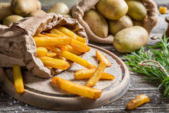 Closeup of homemade fries with salt Royalty Free Stock Photos