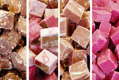 Closeup of homemade fudge, collage. Pic of Closeup of homemade fudge, collage Stock Photo