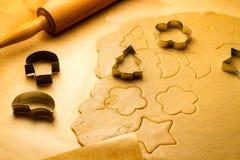 Closeup homemade gingerbread cookies for Christmas Stock Photos