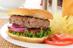Closeup of a homemade hamburger Stock Images