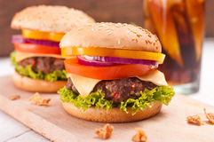 Closeup of homemade hamburger with fresh vegetables. Royalty Free Stock Photos