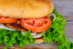 Closeup of homemade hamburger with fresh vegetables Stock Photography