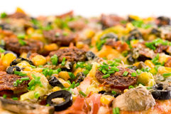 Closeup Homemade Pizza. On white background Royalty Free Stock Image