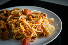 Closeup homemade spagetti with italian red sauce on plate Stock Photo
