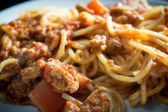 Closeup homemade spagetti with italian red sauce on plate Royalty Free Stock Image