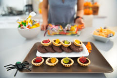 Closeup on horribly tasty delicious halloween treats on table Royalty Free Stock Photography