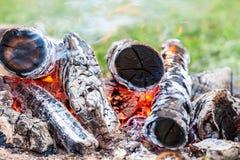 Closeup of hot burning firewood Stock Photography