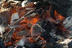 Closeup of hot coal Royalty Free Stock Photography