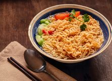 Closeup of hot noodles with smokes. Dark background Royalty Free Stock Photo