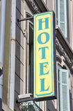 Closeup of hotel sign Royalty Free Stock Images