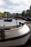 Closeup of house boat on the Amstel in Amsterdam Royalty Free Stock Photos