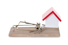 Closeup Of House Model On Mousetrap stock photography