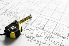 Closeup of house plan blueprint stock photography