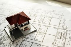 Closeup of house plan blueprint stock photos