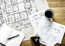 Closeup of house plan blueprint royalty free stock images