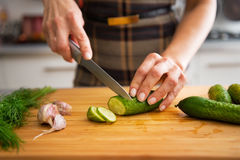 Closeup on housewife cutting cucumber for pickling Stock Photography
