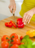 Closeup on housewife cutting red bell pepper Royalty Free Stock Photography