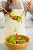 Closeup on housewife mixing vegetable salad Stock Image