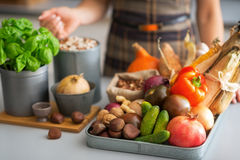 Closeup on housewife with vegetables in kitchen Royalty Free Stock Photography