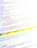 Closeup of html code. Illustration of close up of html code screen Royalty Free Stock Photography