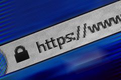 Closeup of Http Address in Web Browser in Shades of Blue. Http Address in Web Browser in Shades of Blue Royalty Free Stock Photography