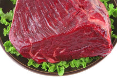 Closeup huge uncooked meat. On plate over white Stock Photo