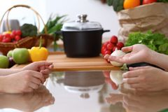 Closeup of human hands cooking in kitchen. Women discuss a menu. Healthy meal, vegetarian food and lifestyle concepts.  Stock Photo