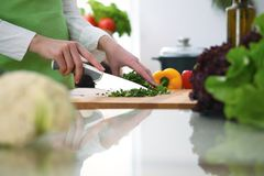 Closeup of human hands cooking vegetables salad in kitchen on the glass  table with reflection. Closeup of human hands cooking vegetables salad in kitchen on the Stock Photo