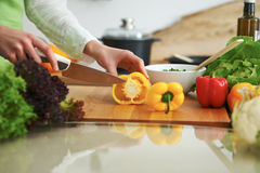 Closeup of human hands cooking vegetables salad in kitchen on the glass  table with reflection Royalty Free Stock Image