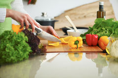 Closeup of human hands cooking vegetables salad in kitchen on the glass  table with reflection Royalty Free Stock Photos