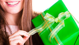 Closeup of human person with box gift. Birthday. Royalty Free Stock Photos