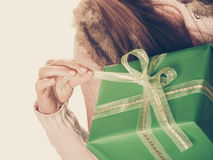 Closeup of human person with box gift. Birthday. Royalty Free Stock Photo