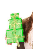 Closeup of human person with boxes gifts. Birthday Royalty Free Stock Photos