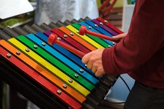 Closeup humans hands playing vibraphone. Favourite classical music. Music classes, learning how to play musical instrument royalty free stock photo